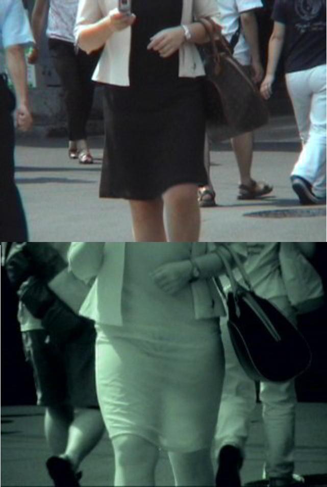 【赤外線エロ画像】赤外線カメラの前では隠し通せない街角の透け下着www 08