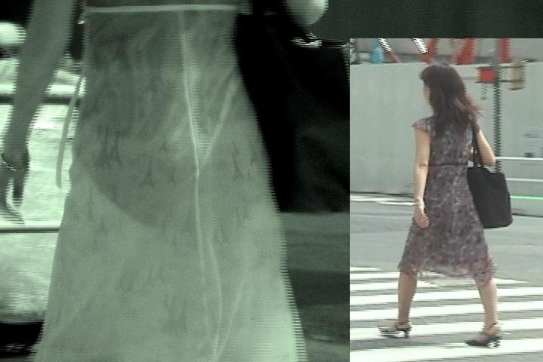 【赤外線エロ画像】赤外線カメラの前では隠し通せない街角の透け下着www 15