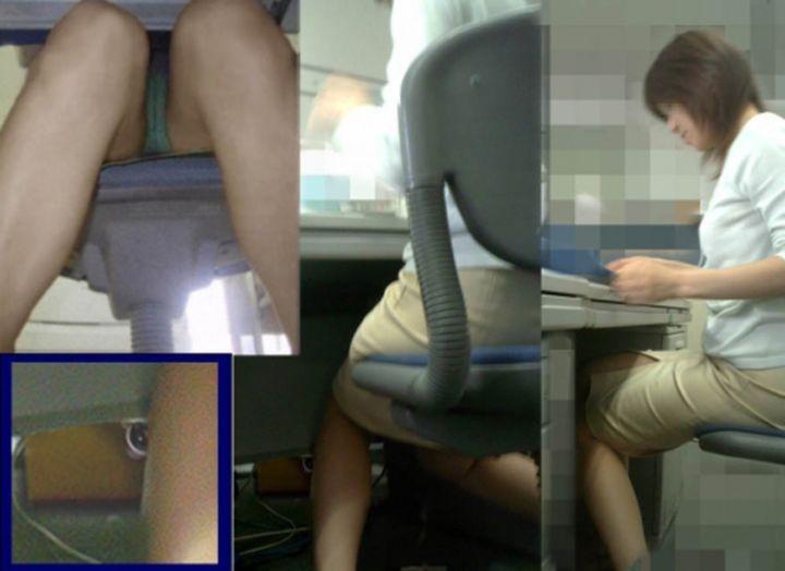 【パンチラエロ画像】机の下に天国が!?仕事中のスカート内部をこっそり激写www 11