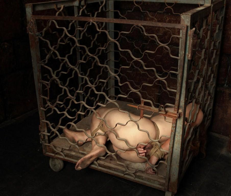 【SMエロ画像】調教後はしまっちゃおうw狭い檻に監禁されたM女の方々www 07