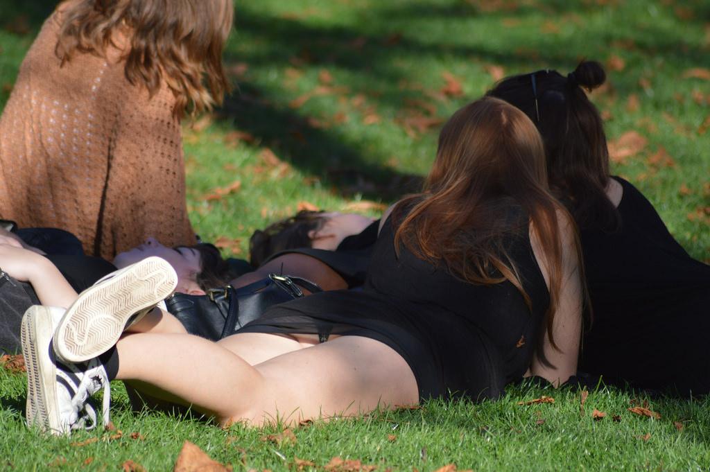 【パンチラエロ画像】皆やってるから…野原に寝転んだパンモロお姉さんwww 05